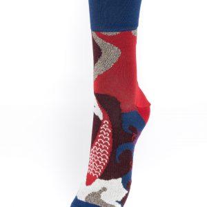 Chaussettes Berthe aux grands pieds poissons rouges argentés