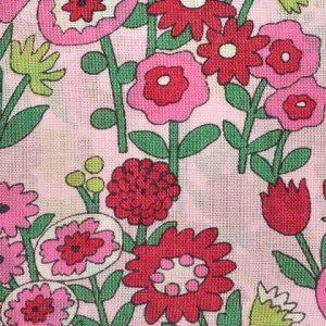 Coupon de tissu Fleuri rose champ Frou-Frou Paris
