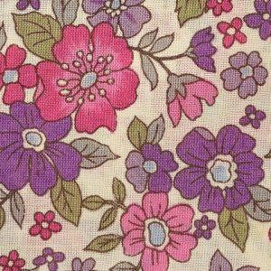 Coupon de tissu Fleuri Violet rose Frou-Frou Paris