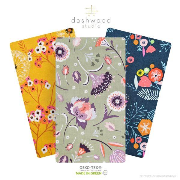 Tissus Fleurs DASHWOOD Studio. Composition : 100% coton