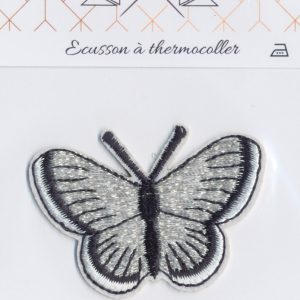 Écusson Thermocollant - GRAND PAPILLON ARGENT