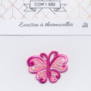 Écusson Thermocollant - PAPILLON ROSE